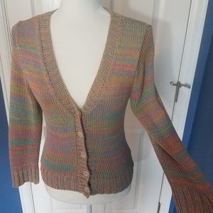 Ball of Cotton Multicolor Handloom Cardigan Small